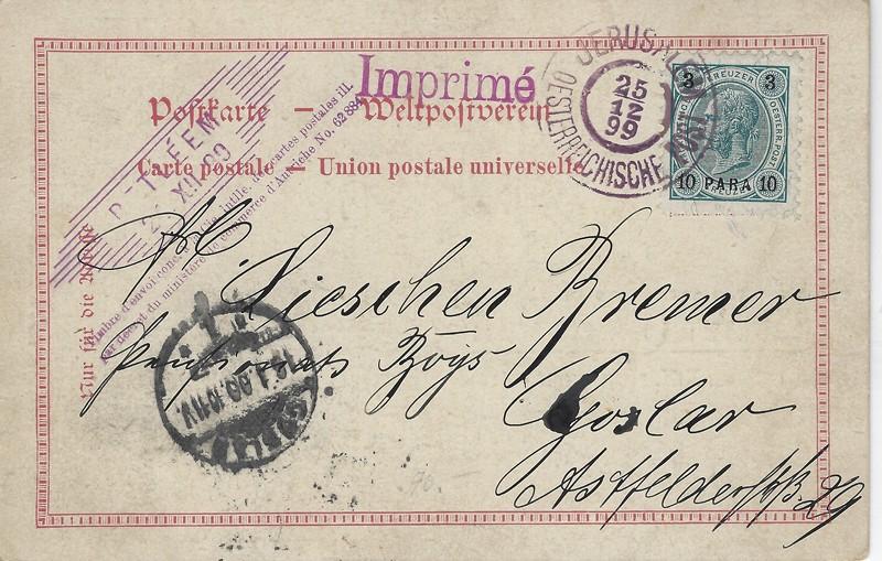 Lot 75 - ottoman period austrian offices -  Negev Holyland 92nd Holyland Postal Bid Sale