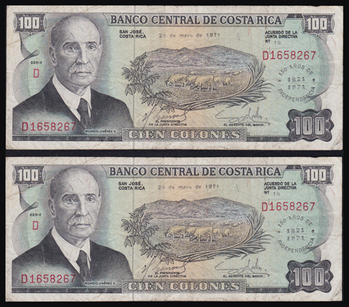 Lot 183 - World Banknotes Costa Rica -  Romano House of Stamp sales ltd Auction #40