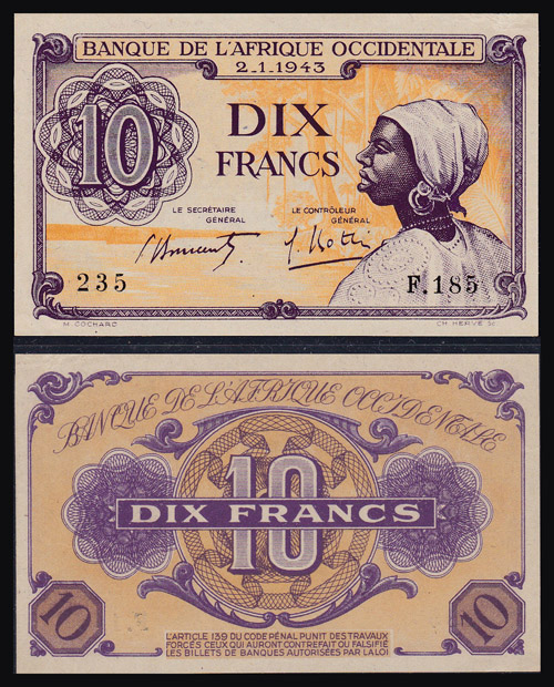 Lot 234 - World Banknotes french west africa -  Romano House of Stamp sales ltd Auction #40