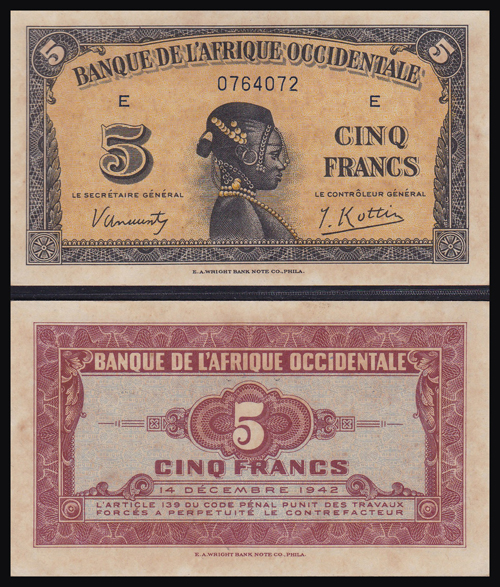 Lot 235 - World Banknotes french west africa -  Romano House of Stamp sales ltd Auction #40