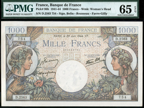 Lot 219 - World Banknotes France -  Romano House of Stamp sales ltd Auction #40