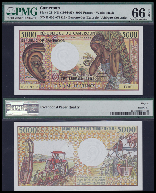 Lot 164 - World Banknotes cameroons -  Romano House of Stamp sales ltd Auction #40