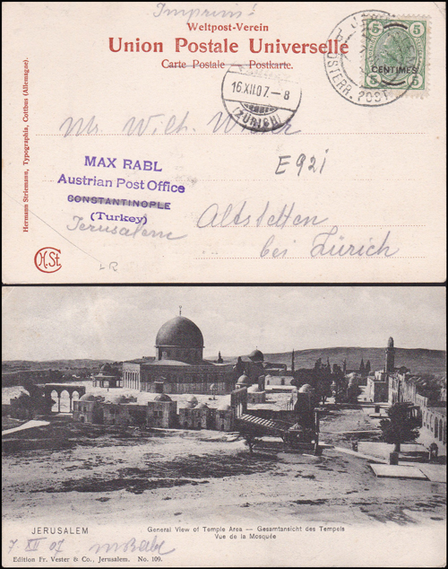 Lot 14 - holyland forerunners austrian post offices -  Romano House of Stamp sales ltd Auction #38: Worldwide Stamps, Postal History, Worldwide Coins & Worldwide Banknotes
