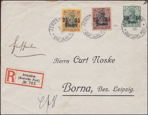 Lot 35 - holyland forerunners german post offices -  Romano House of Stamp sales ltd Auction #38: Worldwide Stamps, Postal History, Worldwide Coins & Worldwide Banknotes